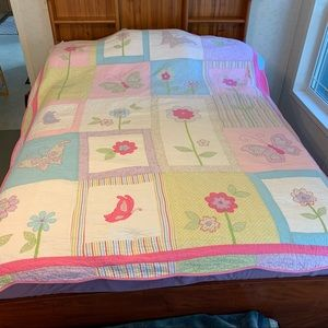 Twin Coverlet with Flowers and Butterflies